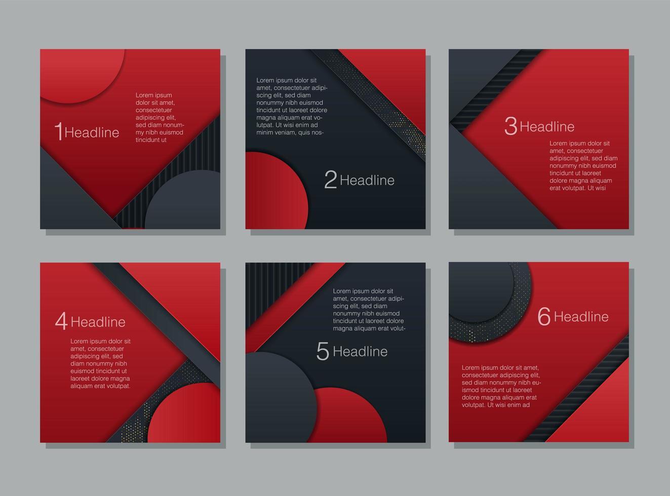 zwart en rood glitter papier gesneden kaartenset vector