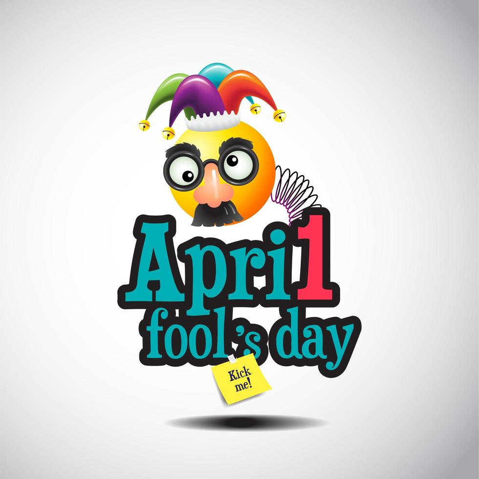 april dwaas dagteken met grappig gezichtsmasker vector