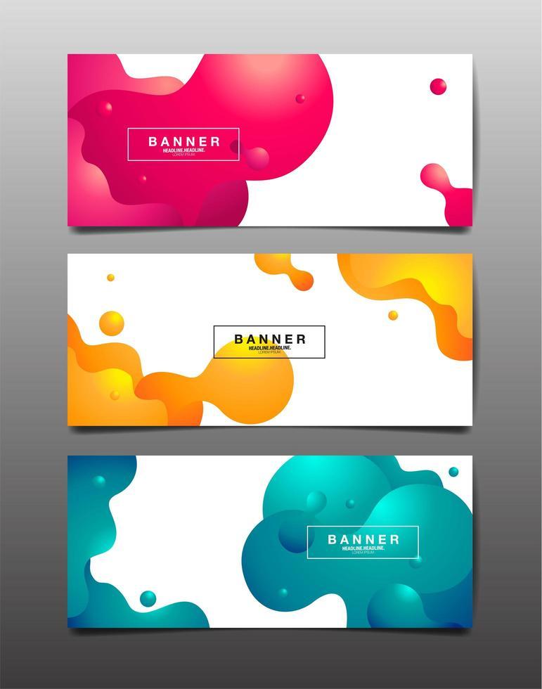 set van horizontale abstracte vloeibare ontwerp banners vector