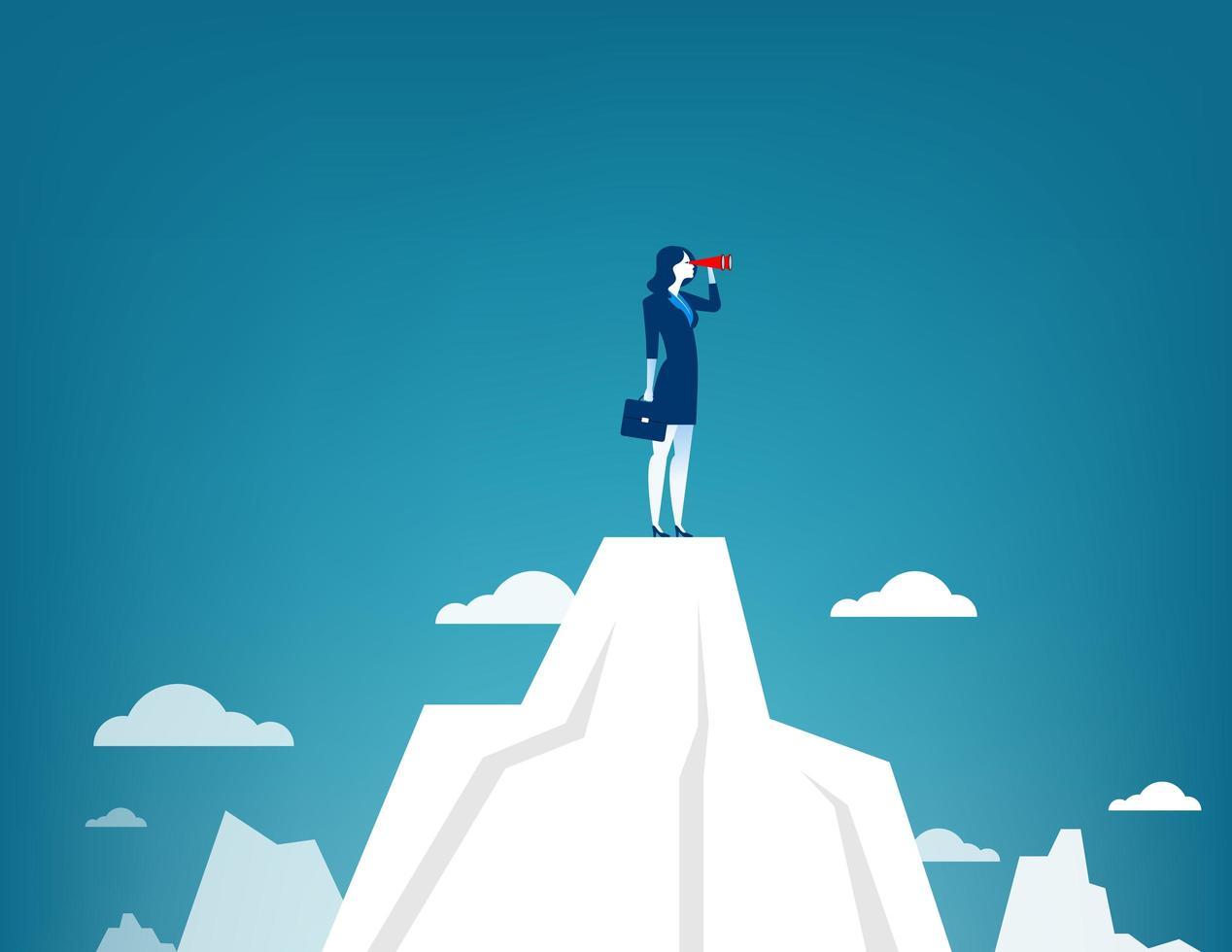 zakenvrouw permanent op bergtop met telescoop vector