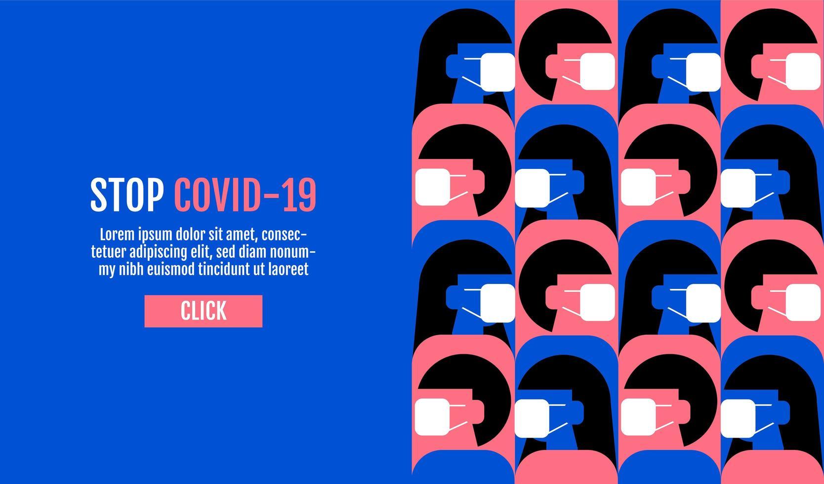 platte ontwerpstop covid-19 vector