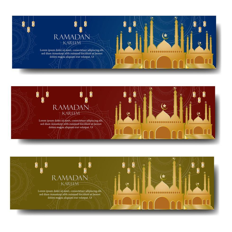 ramadan groet set met gouden moskee vector