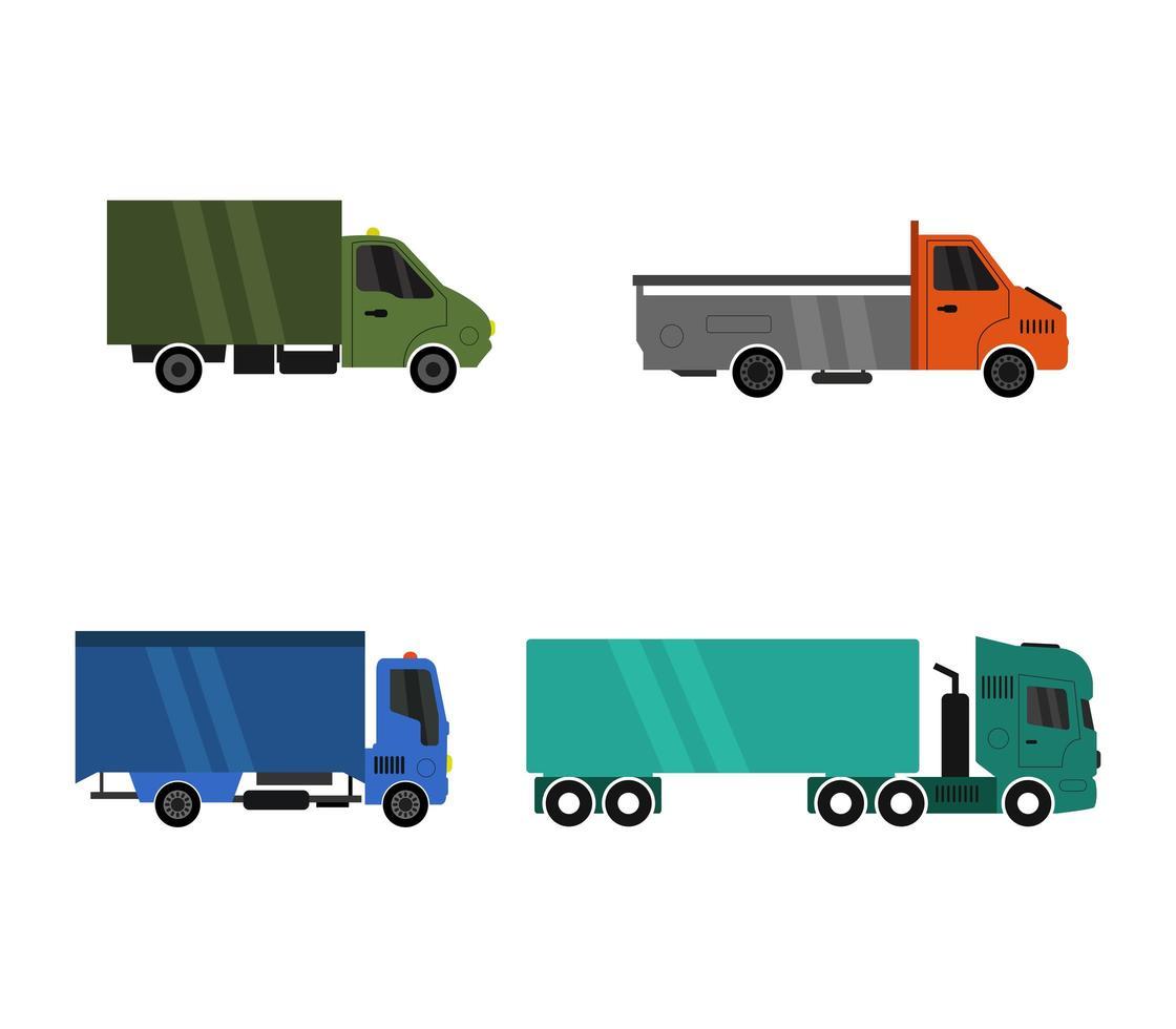 set van commerciële vrachtwagens iconen vector
