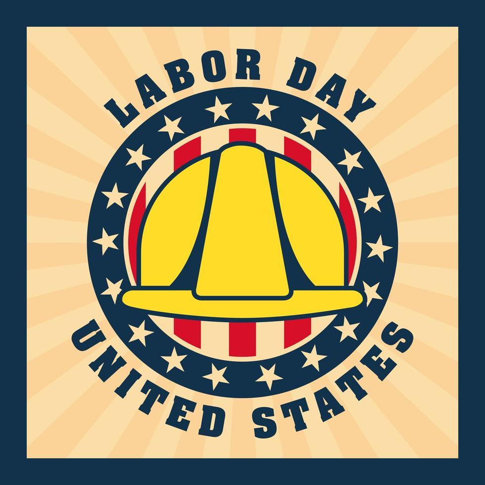 Dag van de Arbeid achtergrond met gele helm vector
