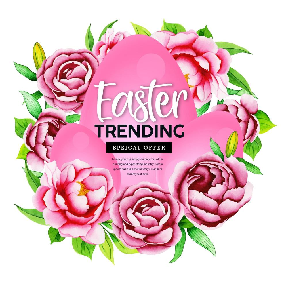 roze aquarel bloem en ei ontwerp vector