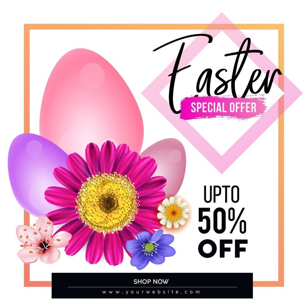 Pasen verkoop poster met kleurrijke bloemen en eieren vector