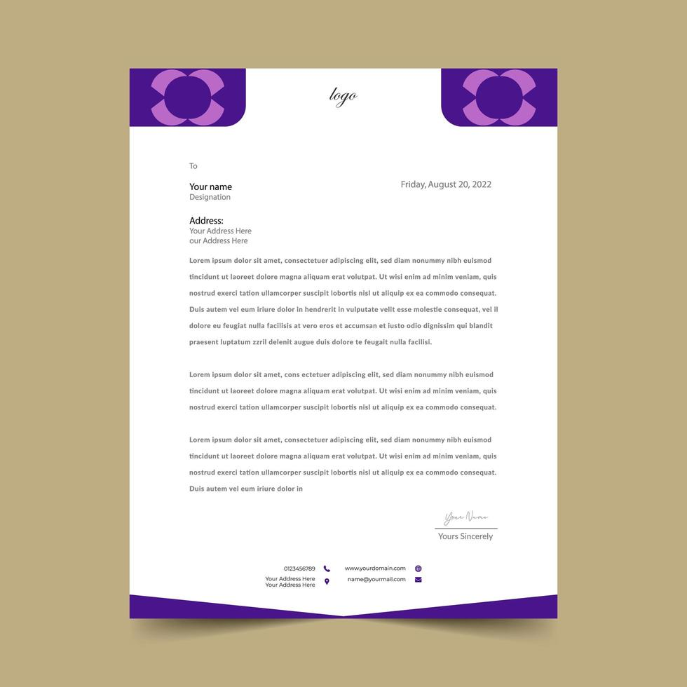 paarse en witte eenvoudige geometrische briefhoofdsjabloon vector