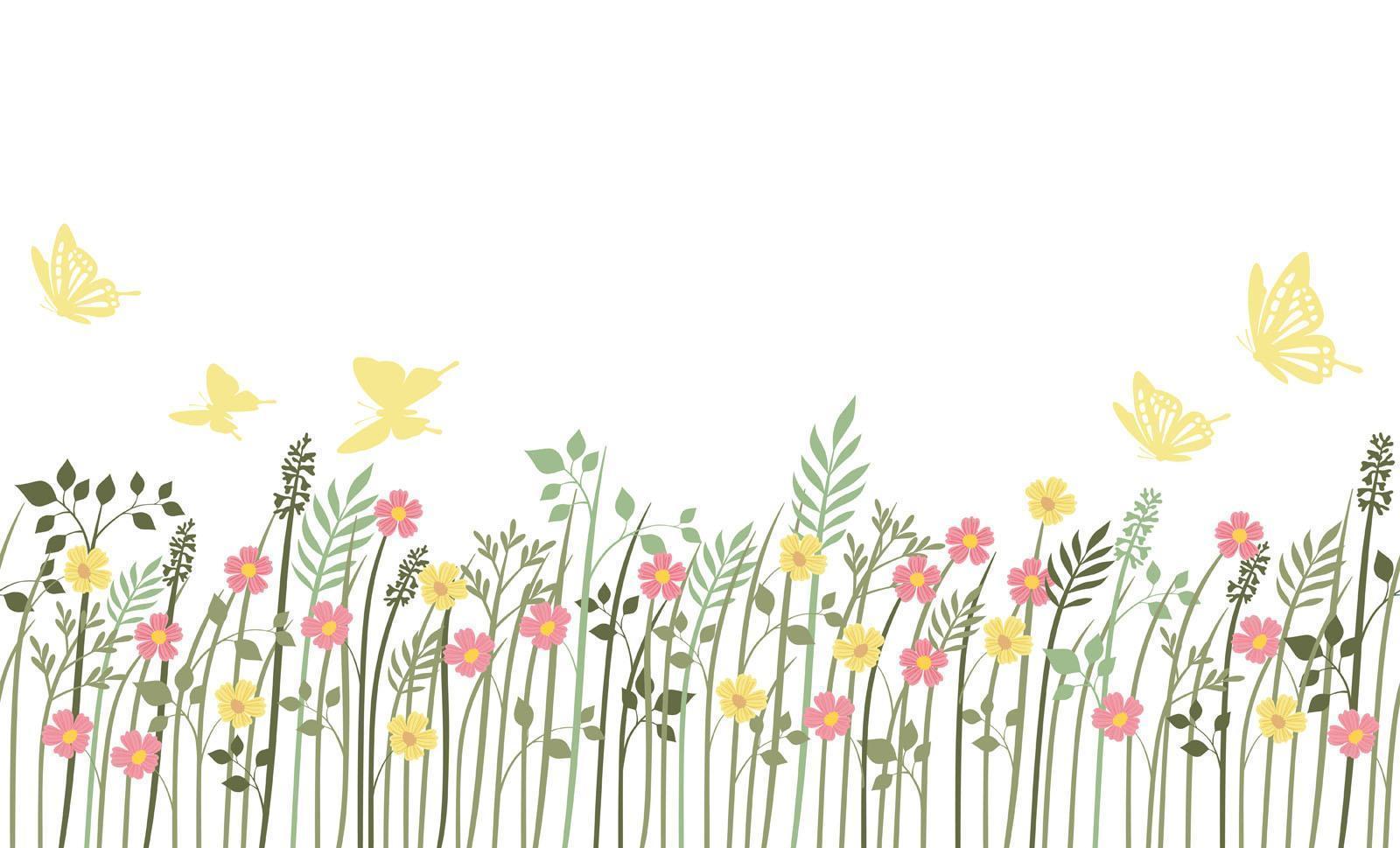 lente veld naadloze achtergrond met planten vector
