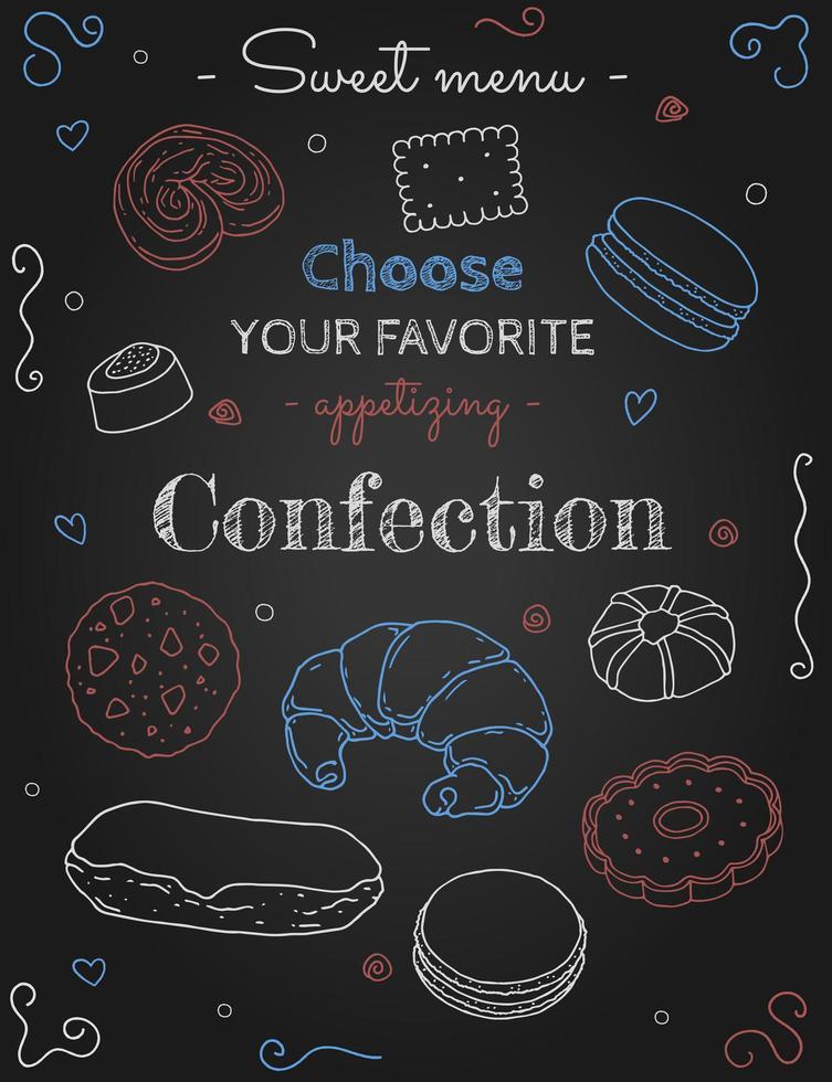 confectie schetsen op zwart vector
