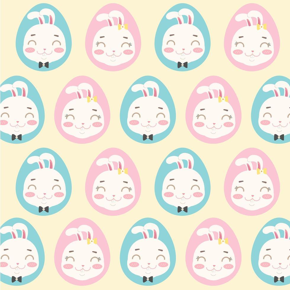 patroon van konijntjeskoppen in eieren vector
