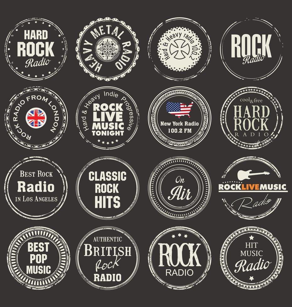 set van rock badge en labels vector