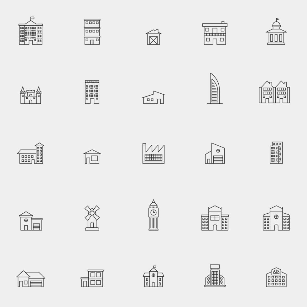 lijn kunst architectuur pictogramserie vector