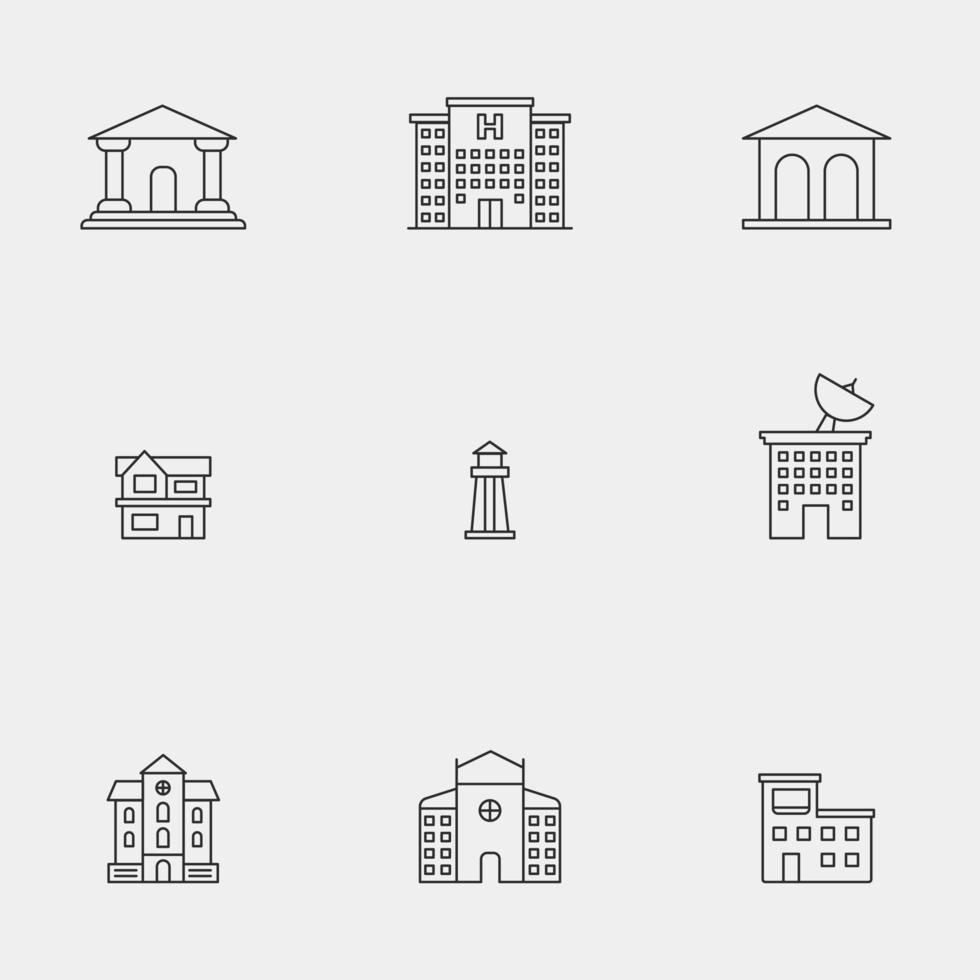 moderne lijntekeningen gebouwen icon set vector