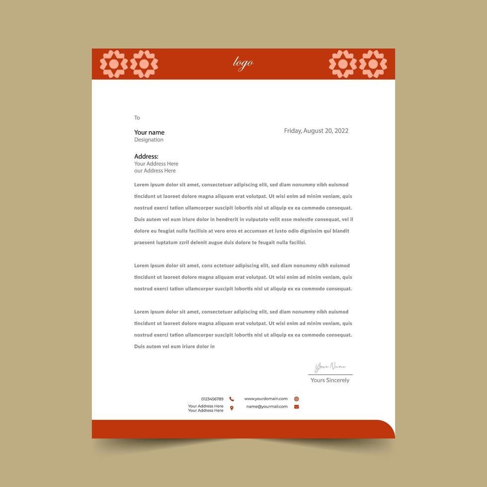 oranjerode eenvoudige briefhoofd ontwerpsjabloon vector