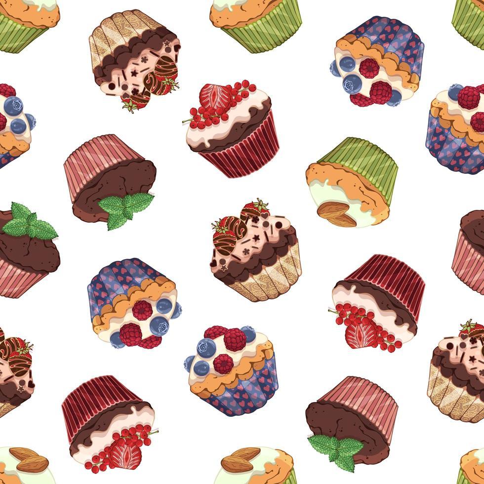 zoete cupcakes patroon vector