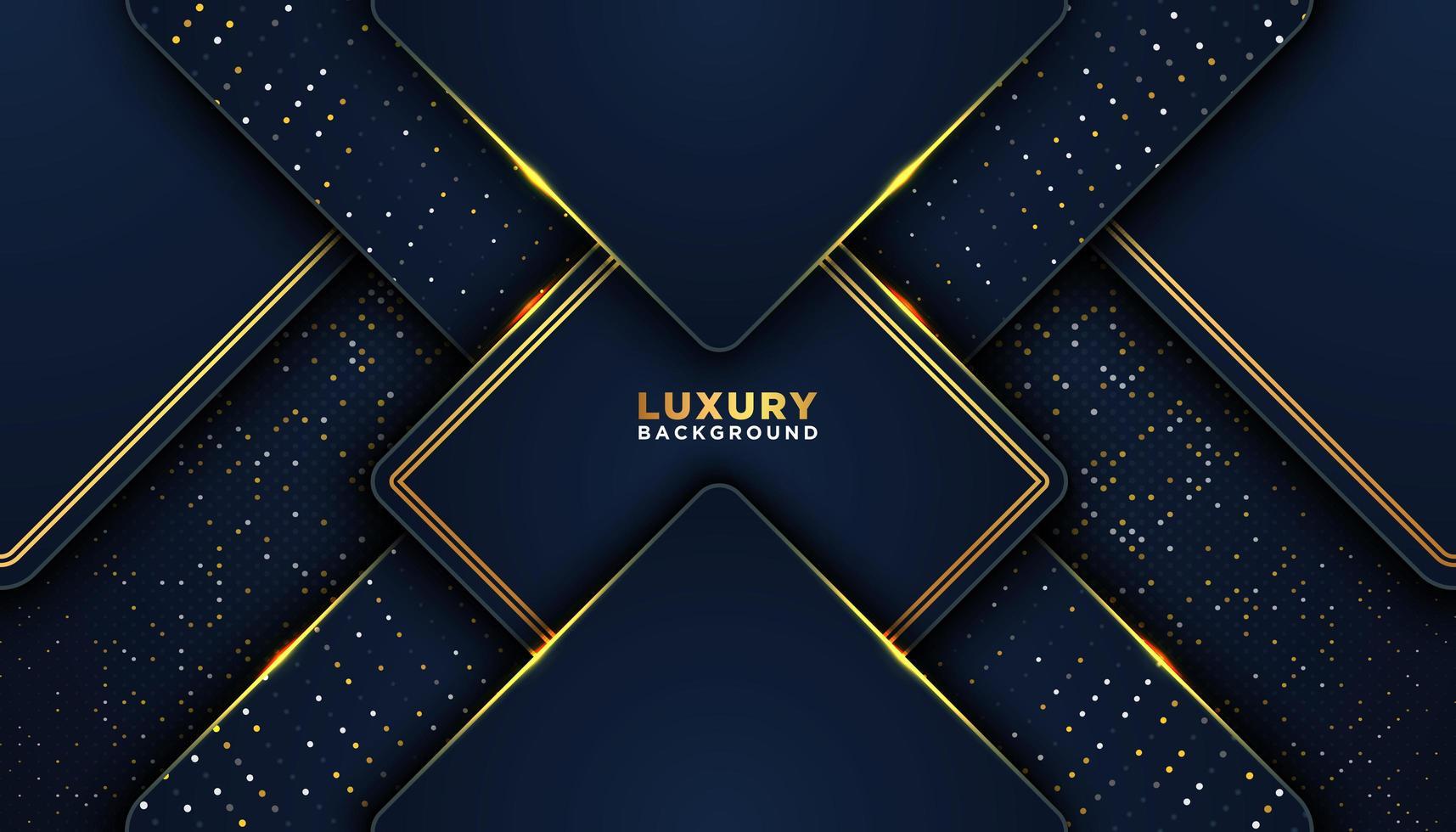 donker blauwe 3d abstracte achtergrond met gouden stippen vector