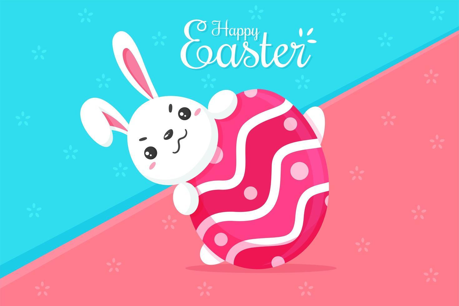 konijntje knuffelt roze eieren vector