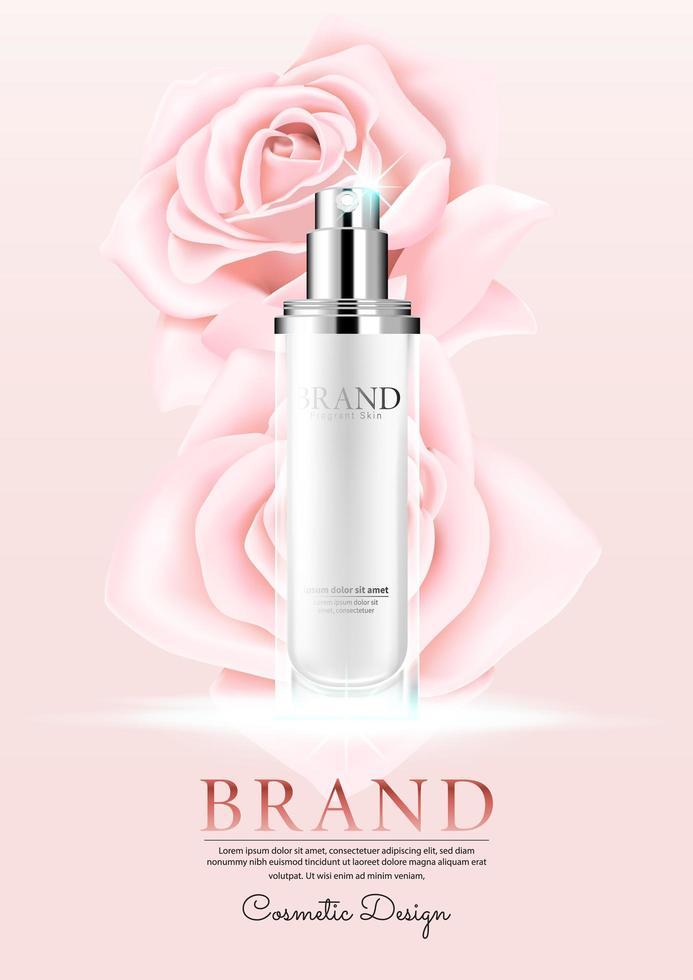 cosmetische met rozenblaadje op roze achtergrond vector