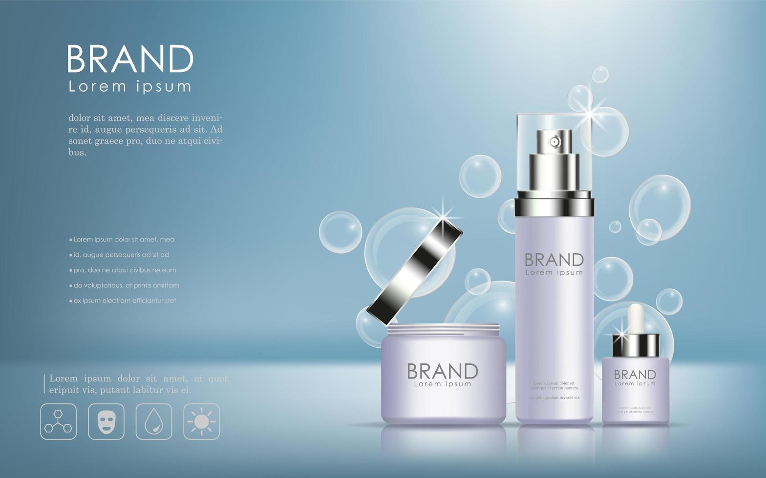 cosmetische producten advertentie met bubble achtergrond vector