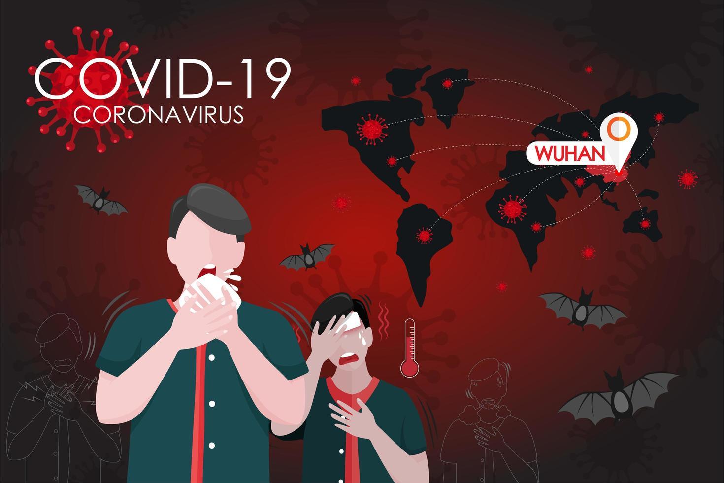 coronavirus wereldwijde infectieposter vector