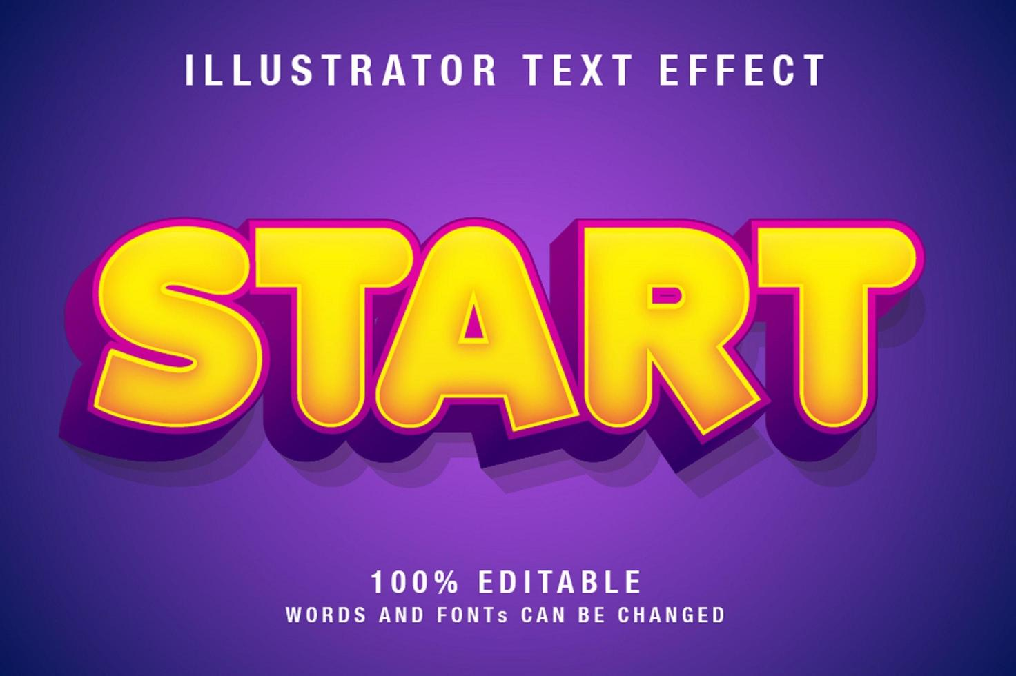 bewerkbaar teksteffect in geel en paars vector