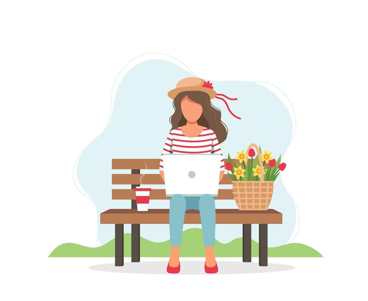 vrouw met laptop en bloemen die op bank zitten vector