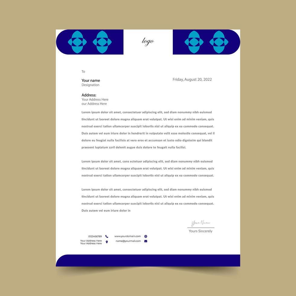 elegant eenvoudig blauw briefhoofdkussen sjabloonontwerp vector