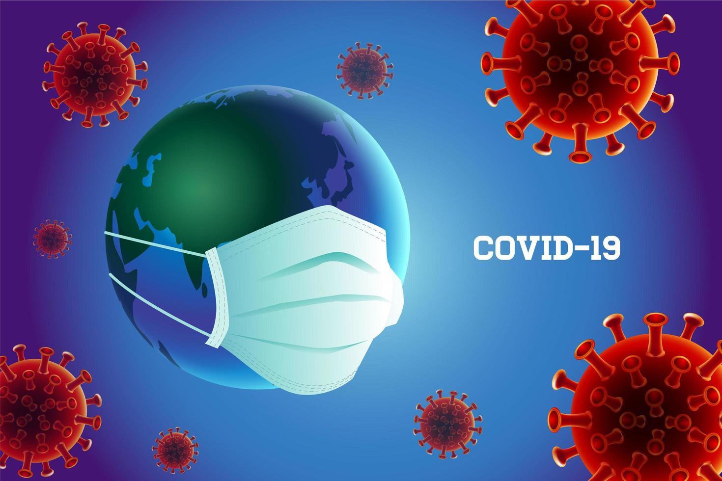 coronavirus covid-19 preventie met masker dat aarde draagt vector