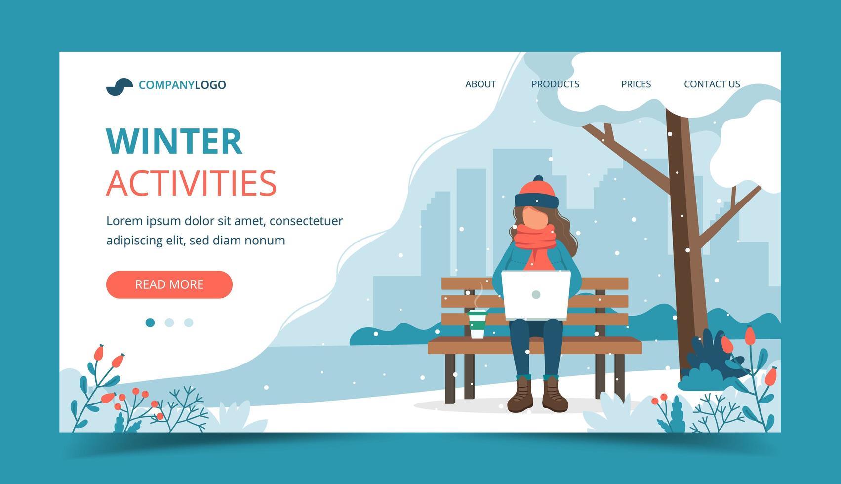 meisje, zittend op een bankje in de winter met laptop vector