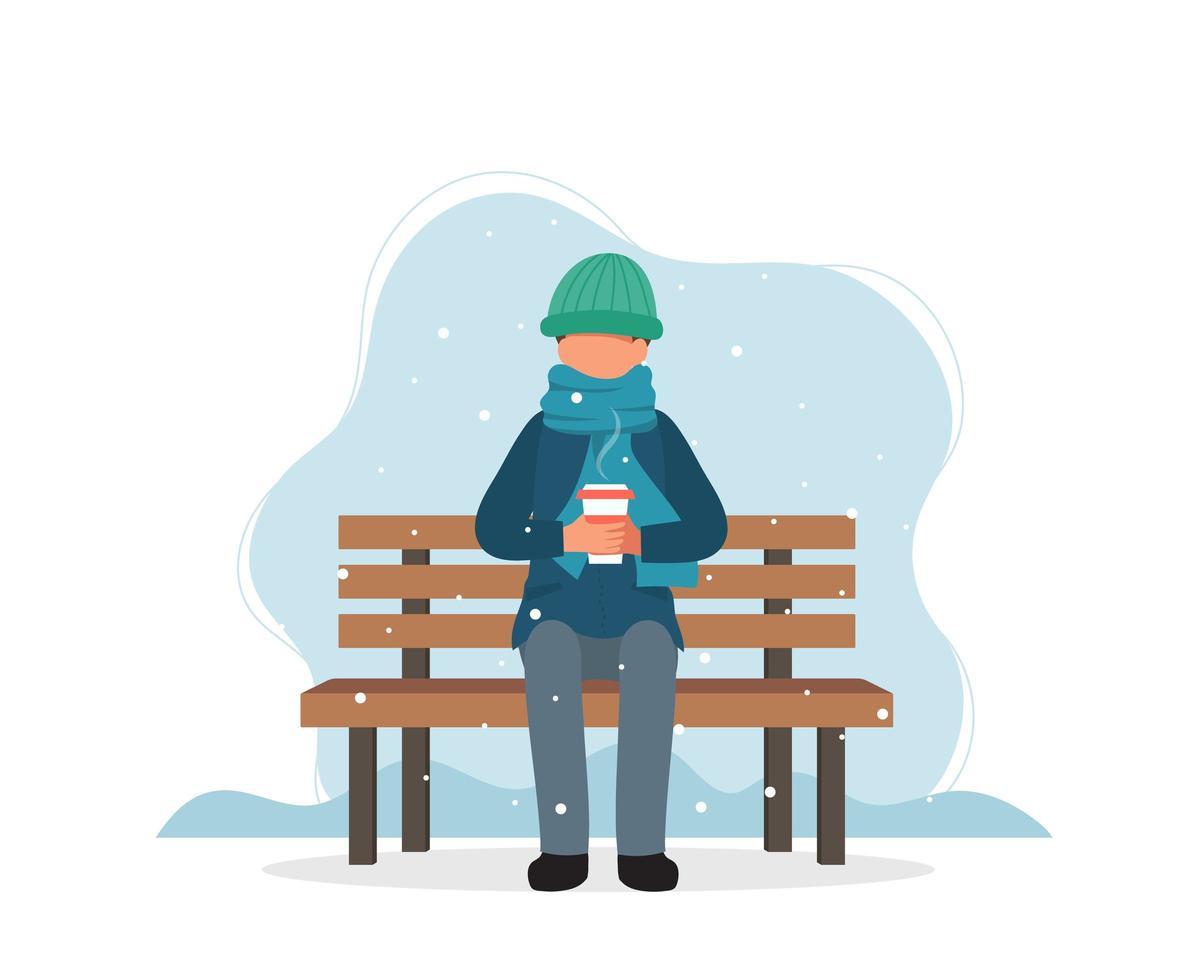 man zit op bankje in de winter met koffie vector