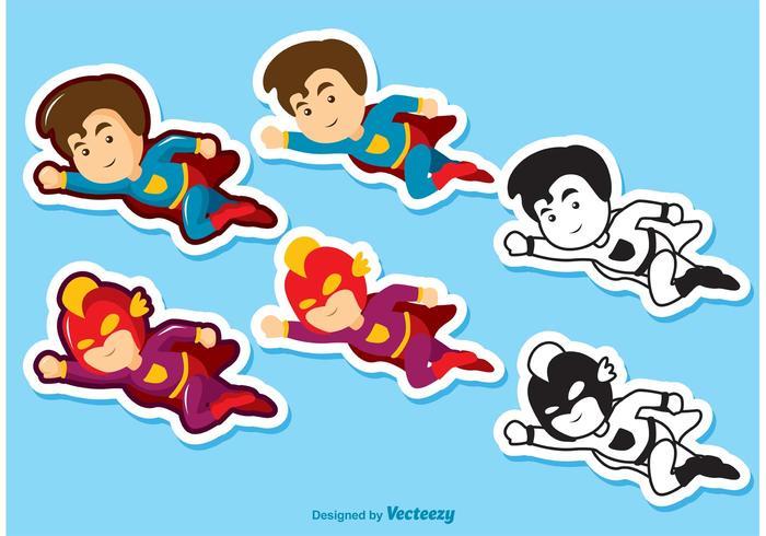 Superhero kid vectoren pack