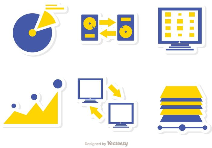 Grote data management iconen vector pack 5