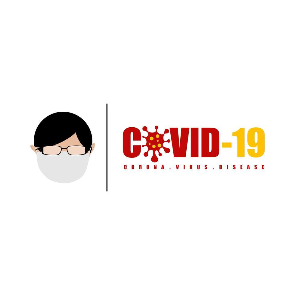 covid-19 corona virusziekte tekenstijl vector