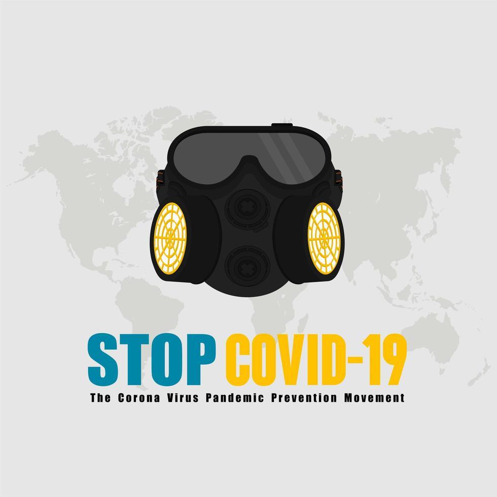 ademhalingsmasker stop covid-19 illustratie vector