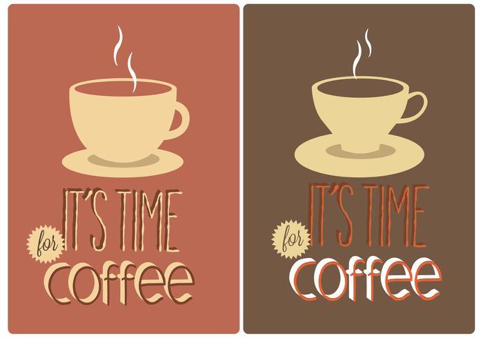 Gratis koffie typografie borden vector