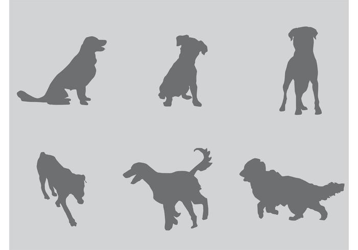 Grijze Silhouetten Van Honden vector