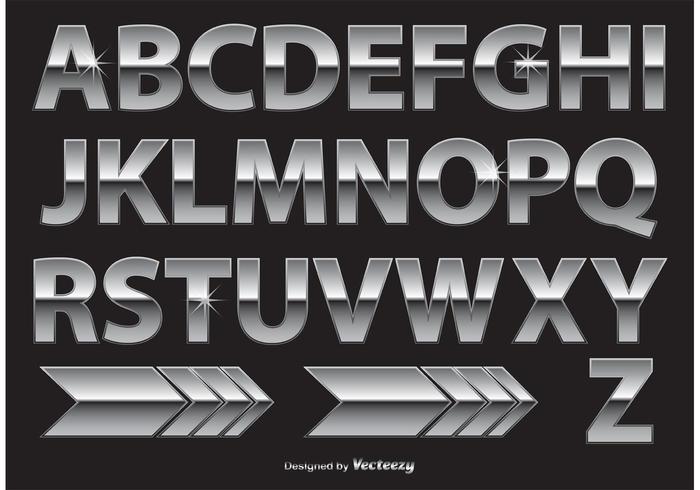 Chrome / Metaal Alfabet vector