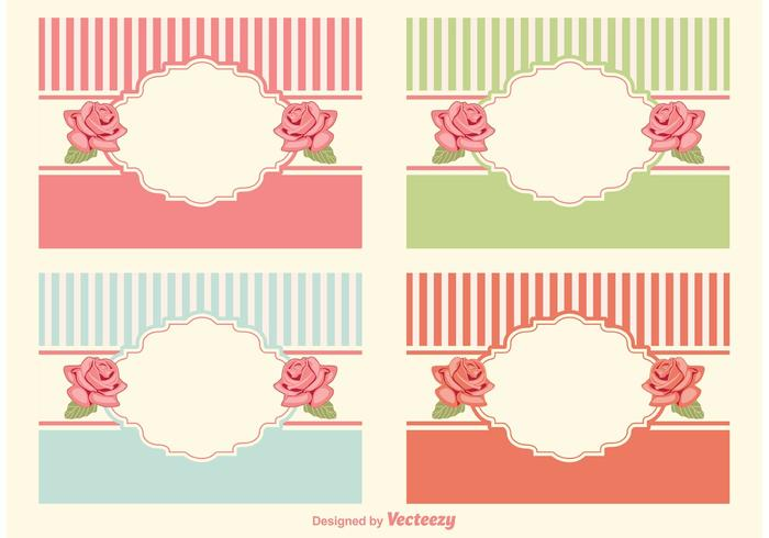 Shabby chic style labels vector