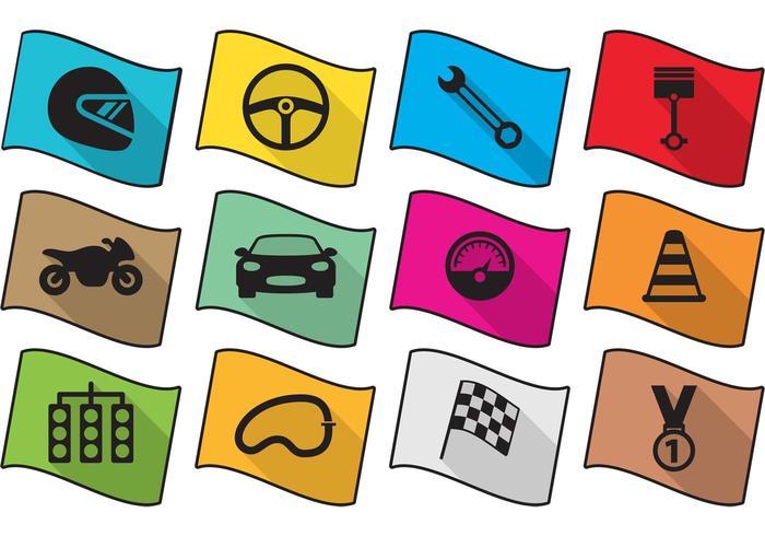 Flat race iconen vector