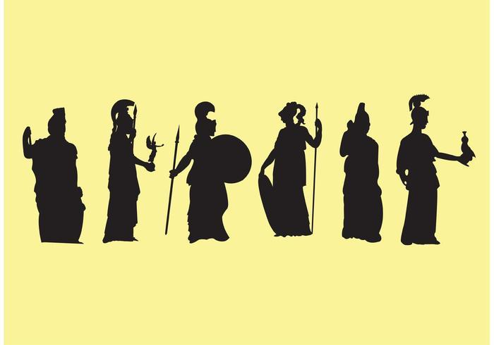 Athena Griekse Godin Silhouetten vector