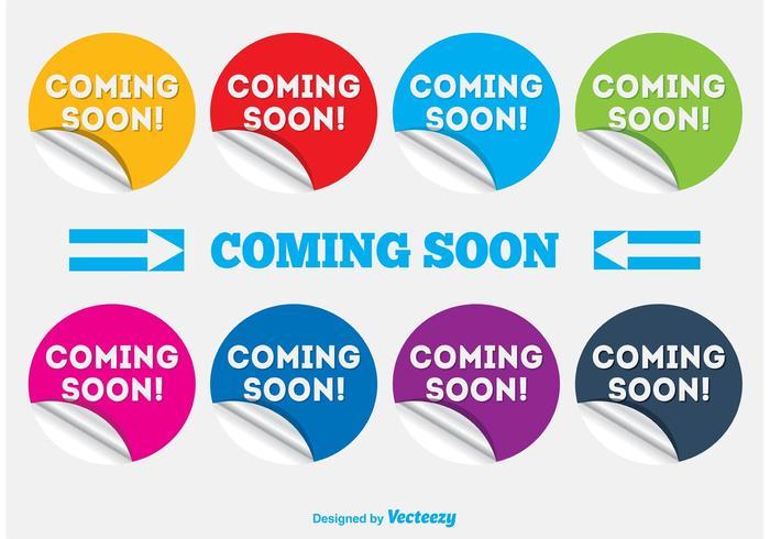 Binnenkort komen labels / stickers vector