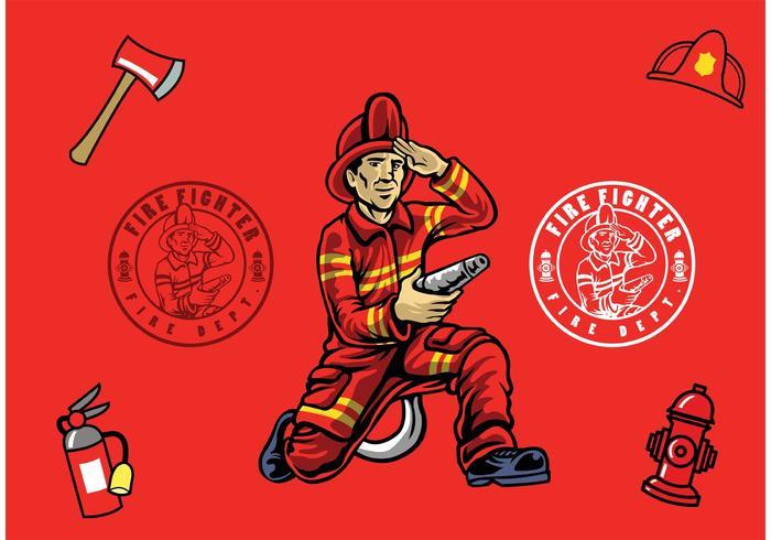 Brandweerman Geïsoleerd vector