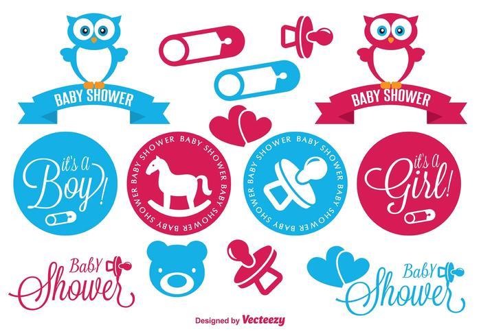Set Baby Shower Elements vector