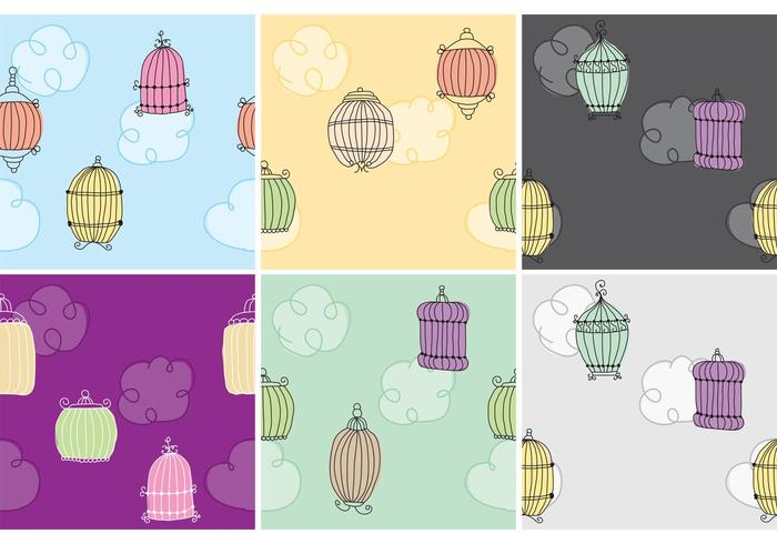 Handgetekende Bird Cage Patterns vector