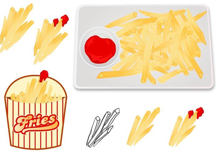 Fries Met Saus Vectoren