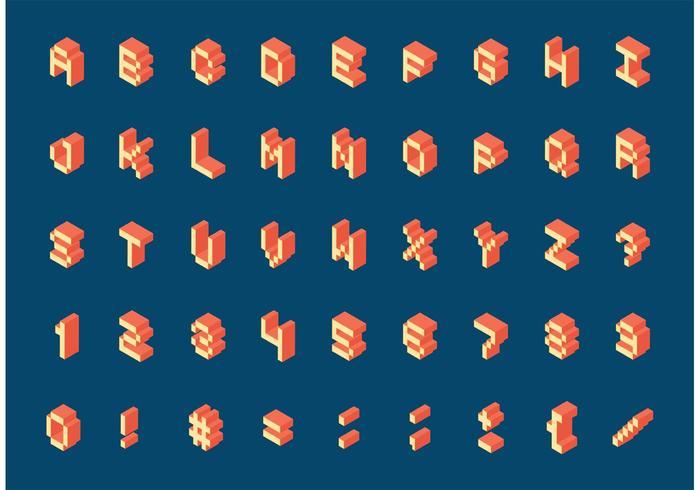 Gratis Isometrische Retro Pixel Alfabet Vector