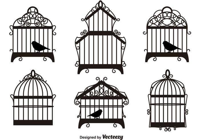 Uitstekende Vogelkooien Silhouetten vector