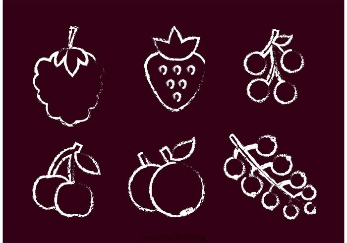 Krijt Getrokken Berry Vector