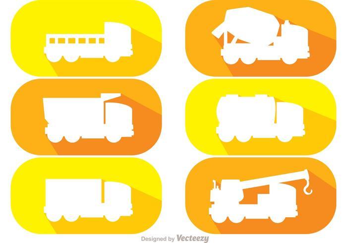 Witte silhouet dump trucks vector pack