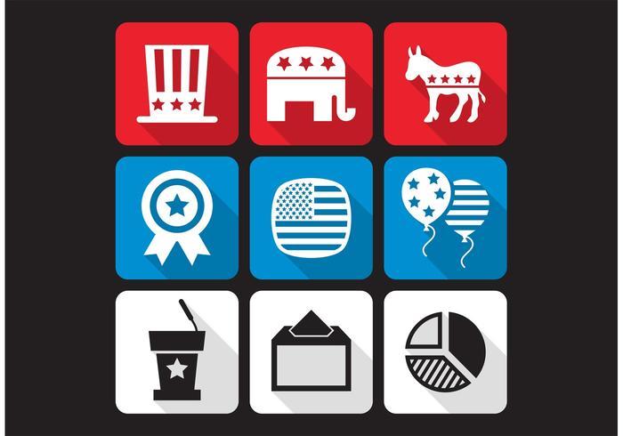 Amerikaanse Verkiezingen Vector Pictogrammen
